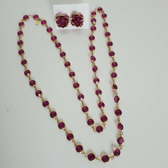 Swarovski Pink Crystal Bezel SOLD Necklace Earring